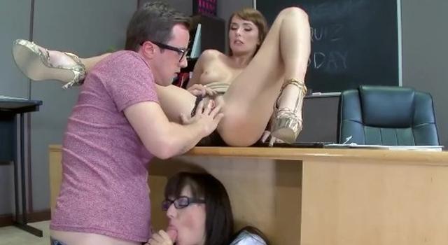 Teacher has three-way..