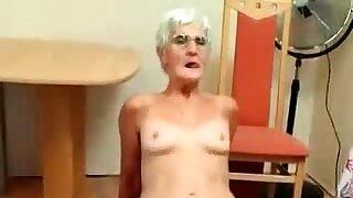 Vigorous granny blowjob..